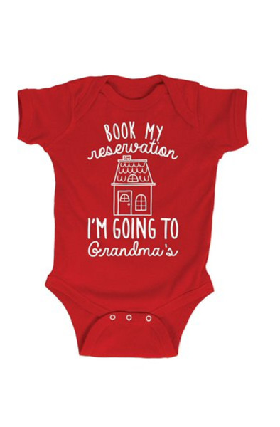 """Book My Reservation Going To Grandmas"" Onesie"