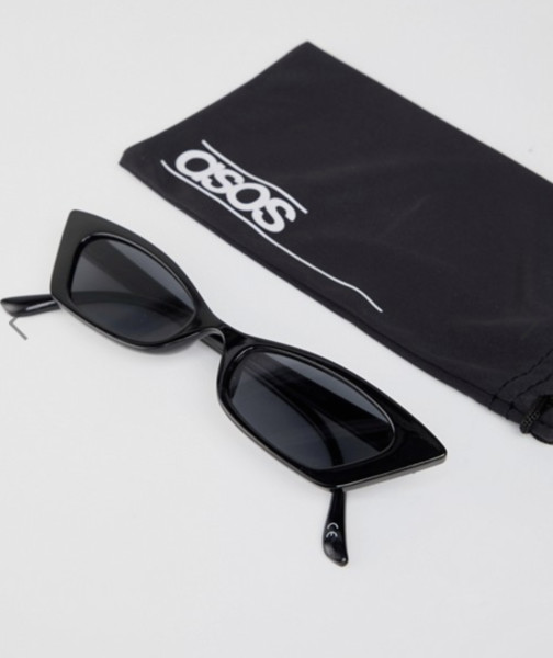 Squared Off Narrow Cat Eye Sunglasses