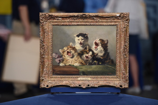 "Julius Adam II ""Kitten Symphony"" Oil Painting, ca. 1885"